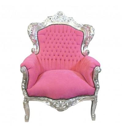 Růžový barokní křeslo - dřevěné barokní nábytek -