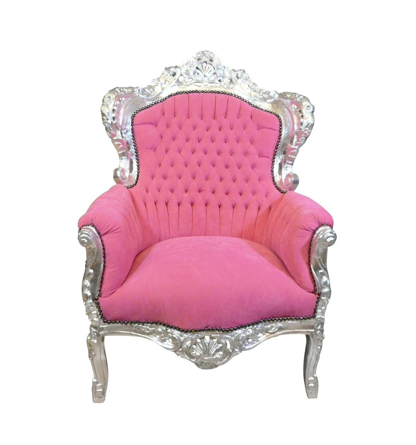 Fauteuil baroque rose chaise table commode et mobilier - Chaise baroque rose ...