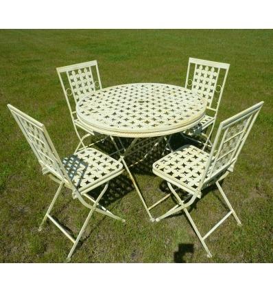 Salon de jardin en fer forg avec une table ronde et 4 chaises - Salon de jardin en fer ...