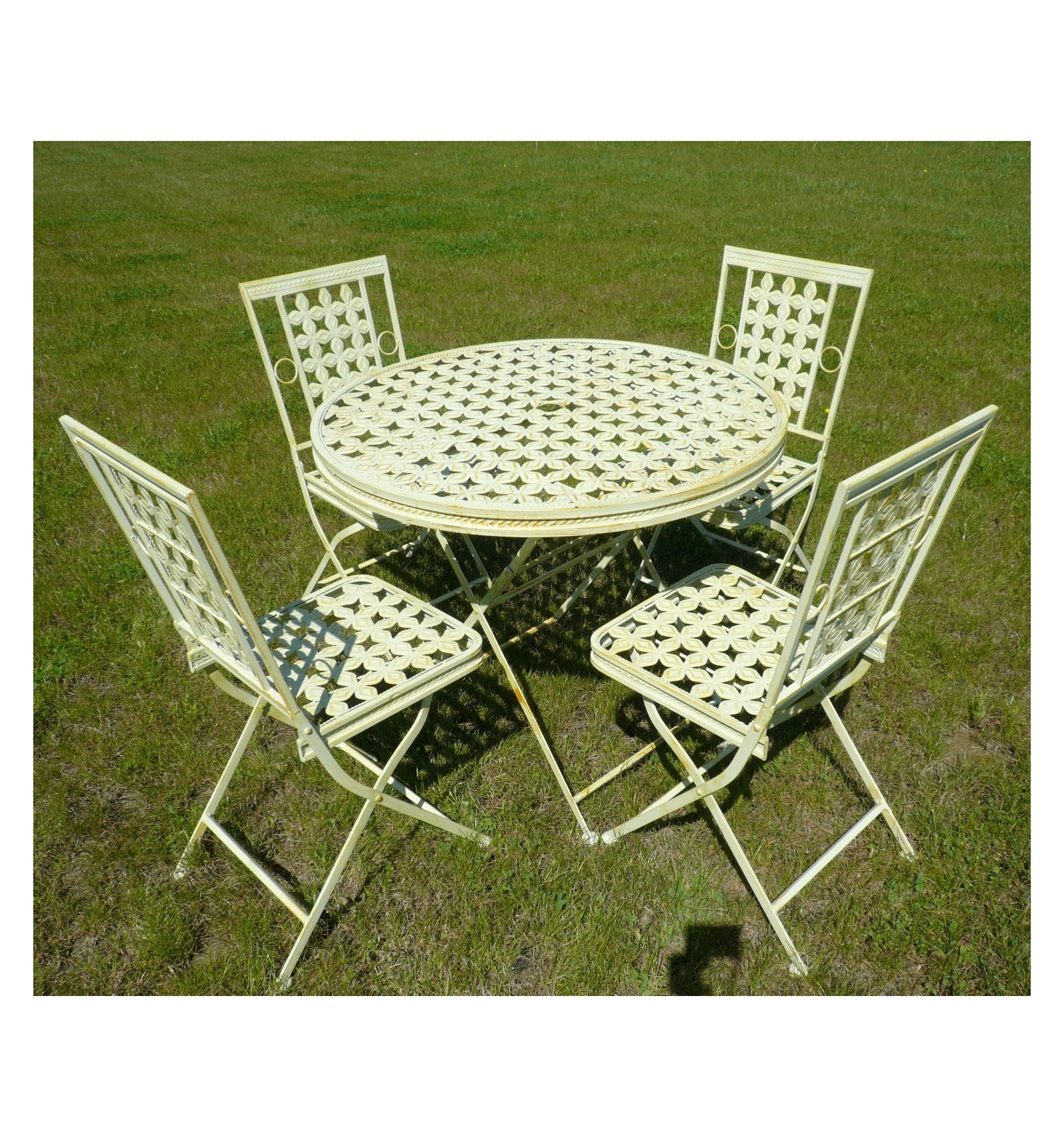 garden furniture in wrought iron with a round table and 4. Black Bedroom Furniture Sets. Home Design Ideas