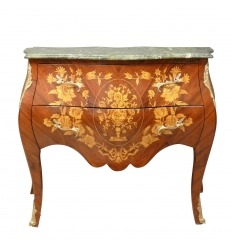 Commode style Louis XV en marqueterie