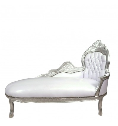 Chaise Baroque White And Silver