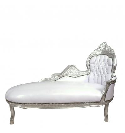 Méridienne baroque blanche et argent