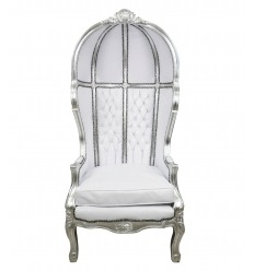 Fauteuil blanc style baroque forme carrosse