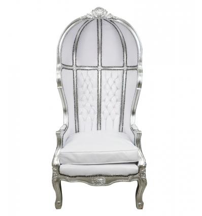 Weißer Barock-Sessel - Barock-Einrichtungsgegenstände -