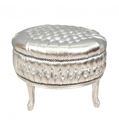 Large Baroque pouf silver