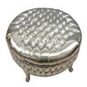 Grand pouf baroque argent - Mobilier baroque