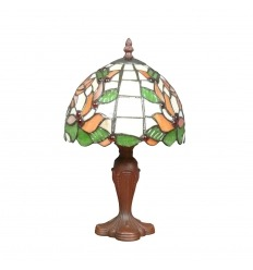 Tiffany bedlampje lamp met witte en groene glazen