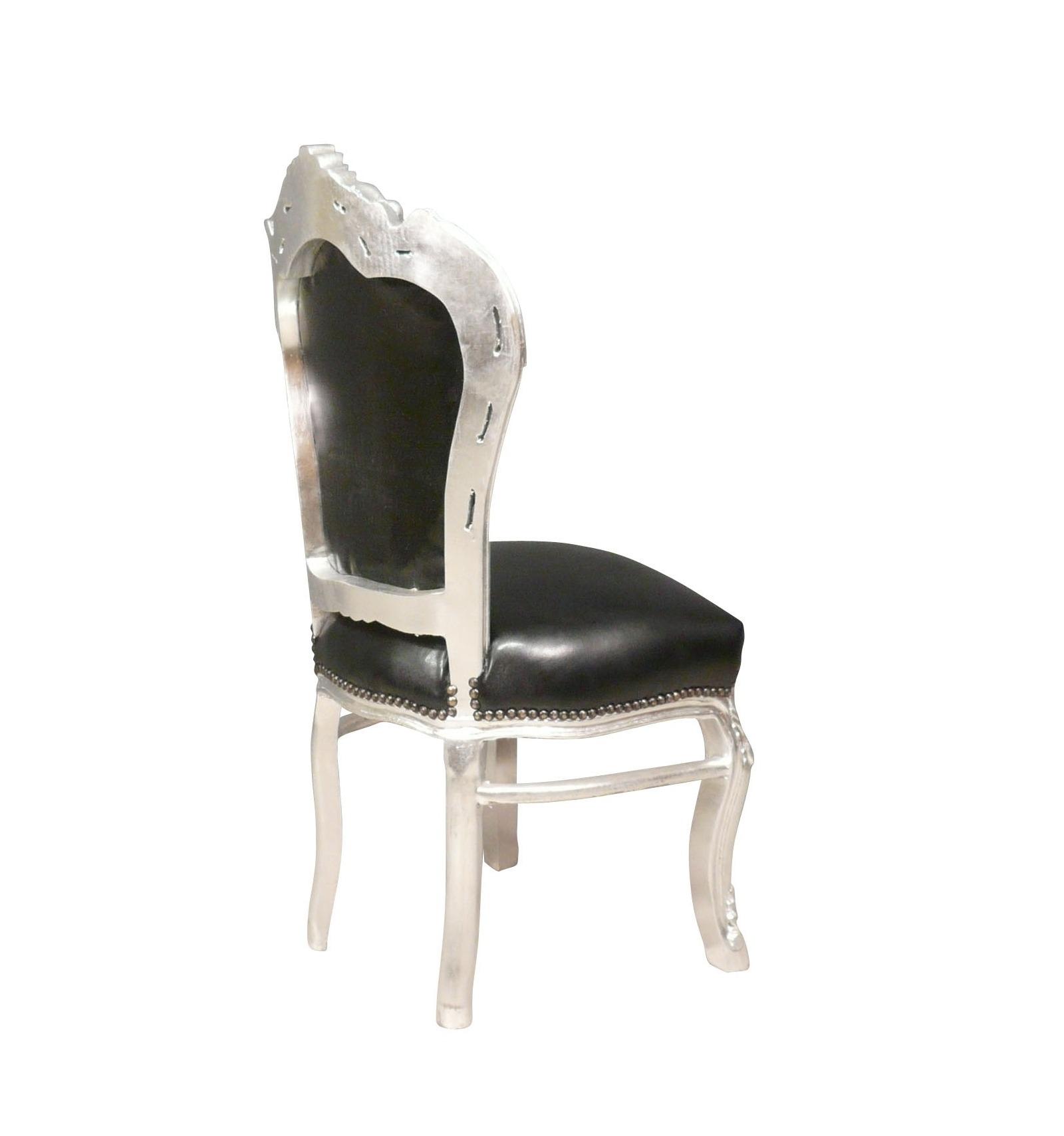 Chaise baroque noire et argent en simili cuir - Chaise baroque noir ...