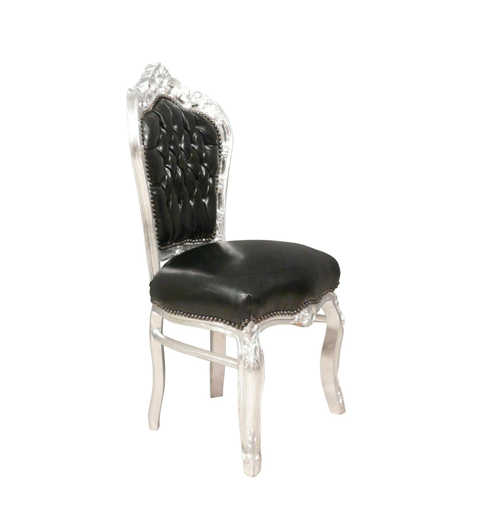 Chaise Baroque Noire Tissu Imitant Le Cuir