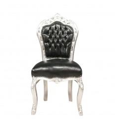 Chaise baroque noire en simili cuir