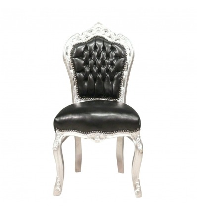 Barocker Stuhl aus schwarzem Kunstleder