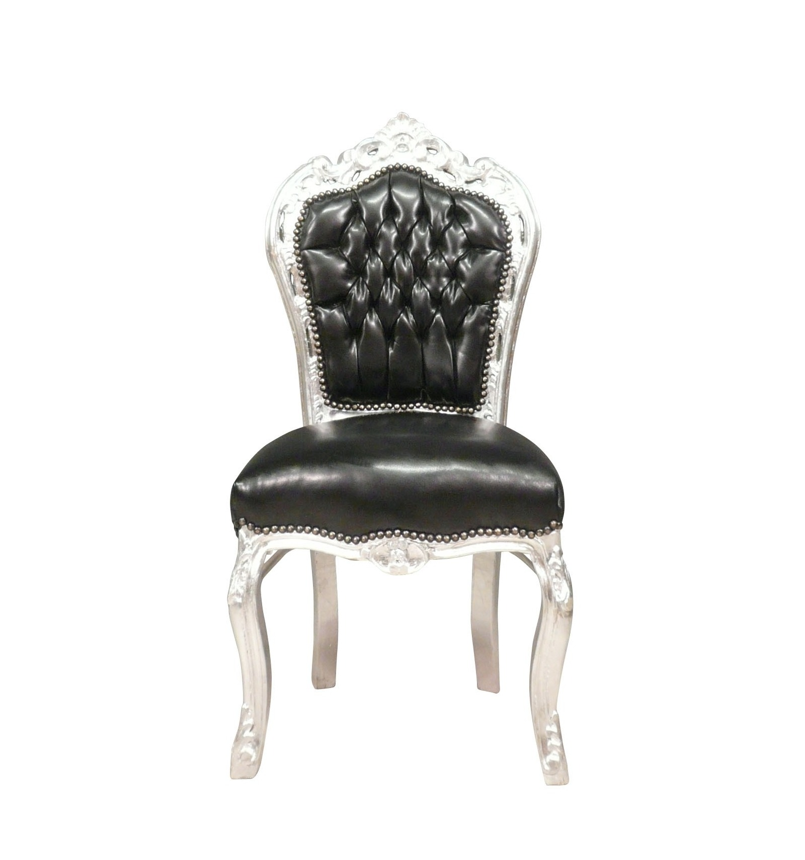 chair baroque black and silver faux leather