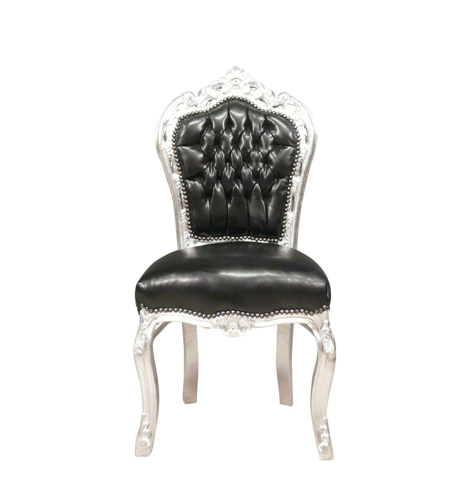 Chaise baroque noire et argent en simili cuir - Chaise baroque avec accoudoir ...