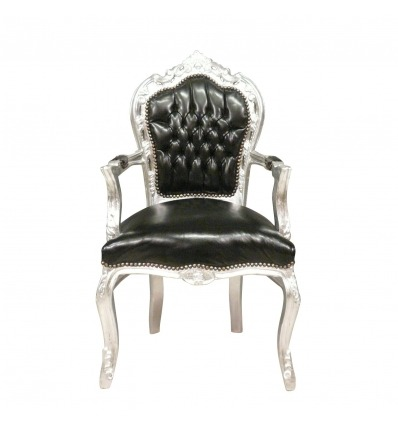 Baroque armchair black and silver wood