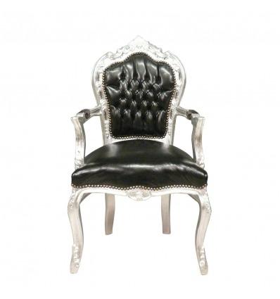 Svart barock stol och silver trä