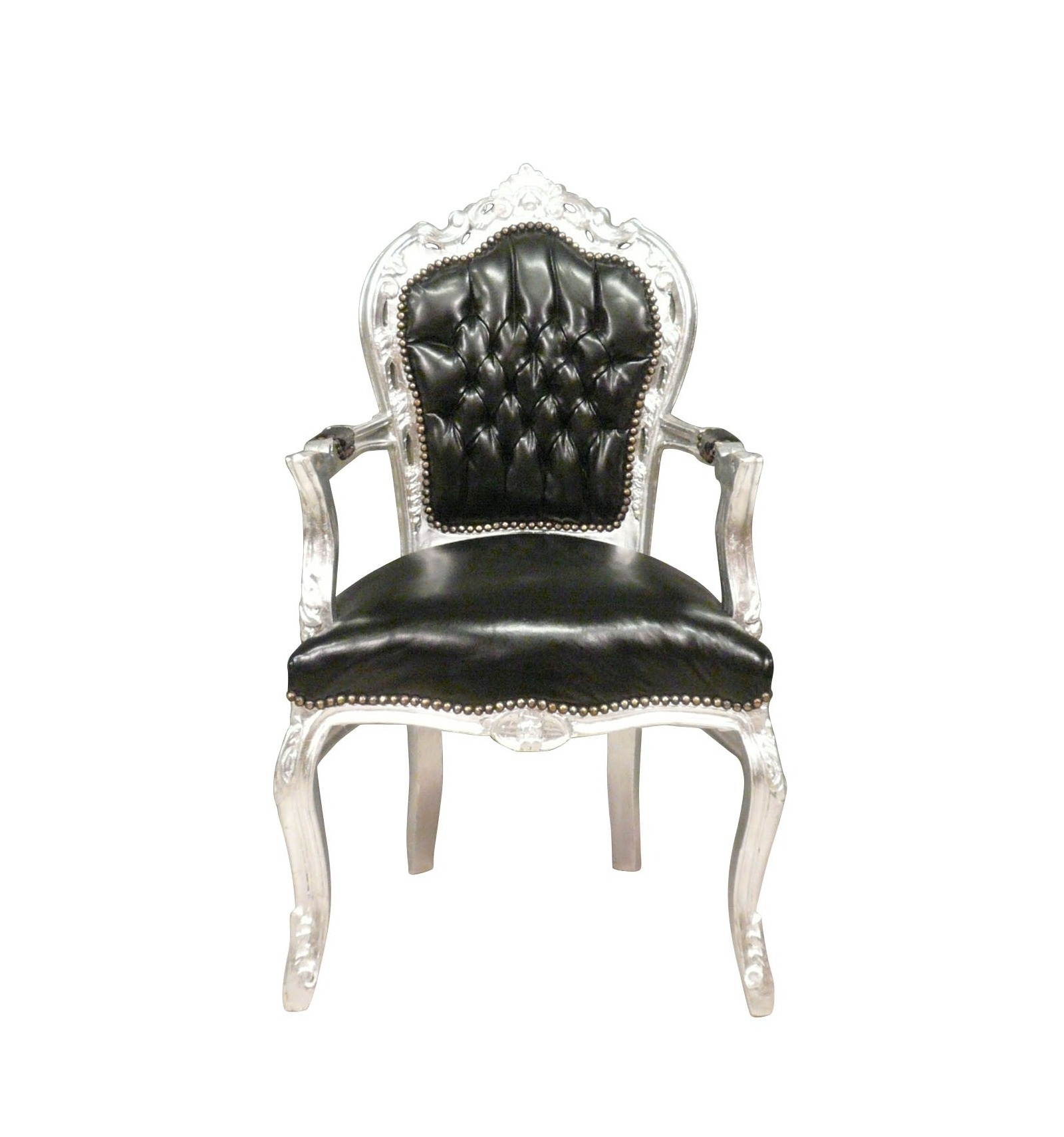 Barok Stoelen Zilver Zwart.Fauteuil Barok Zwart Zilver Faux Leather