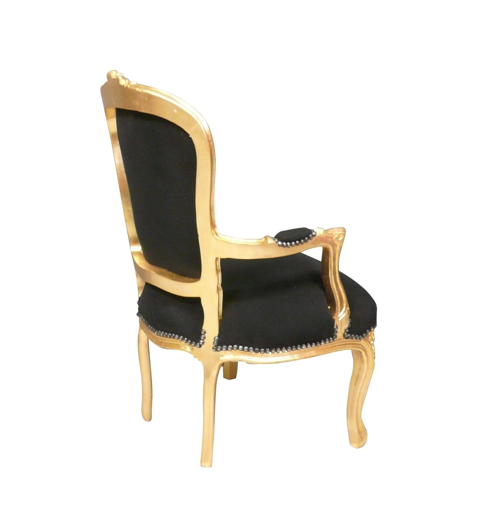 barock sessel stil louis xv schwarz und gold. Black Bedroom Furniture Sets. Home Design Ideas