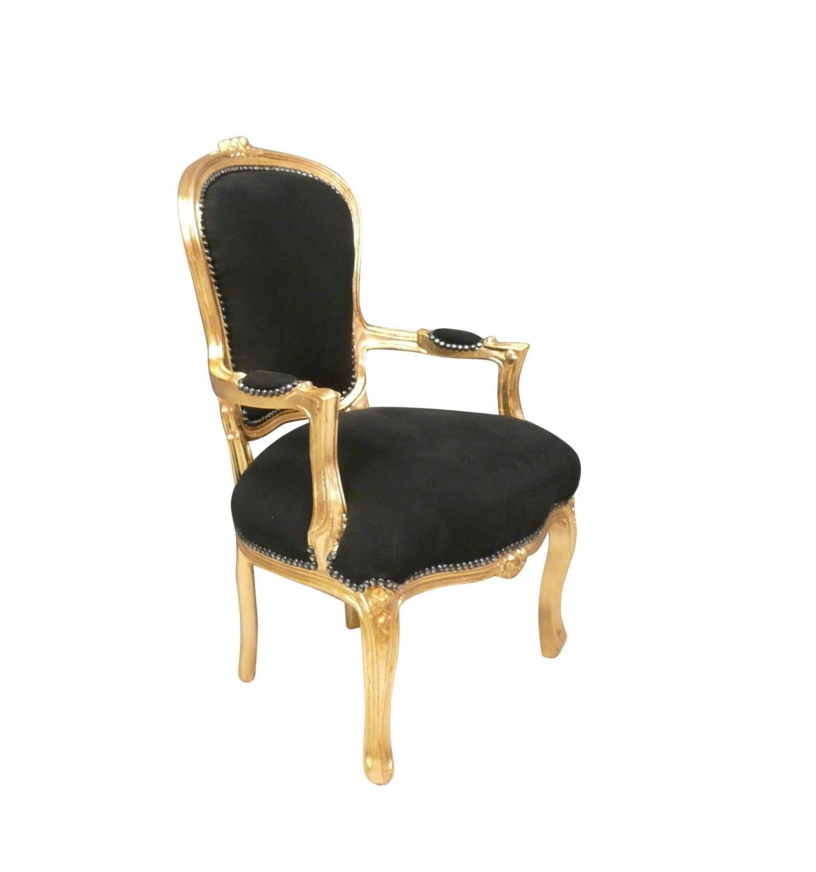 Barock Sessel Stil Louis XV schwarz und gold