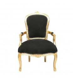 Louis XV stol svart och förgyllt trä