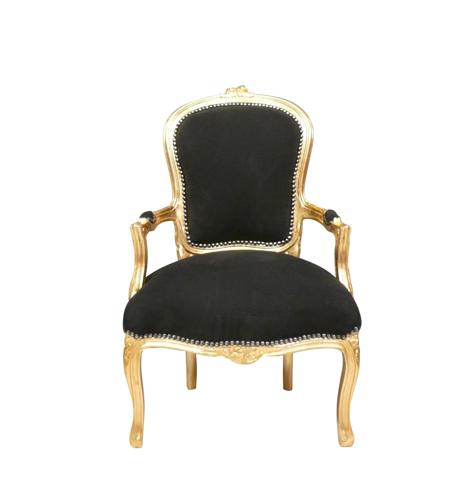 Baroque armchair style louis xv black and gold for Chambre style louis xv