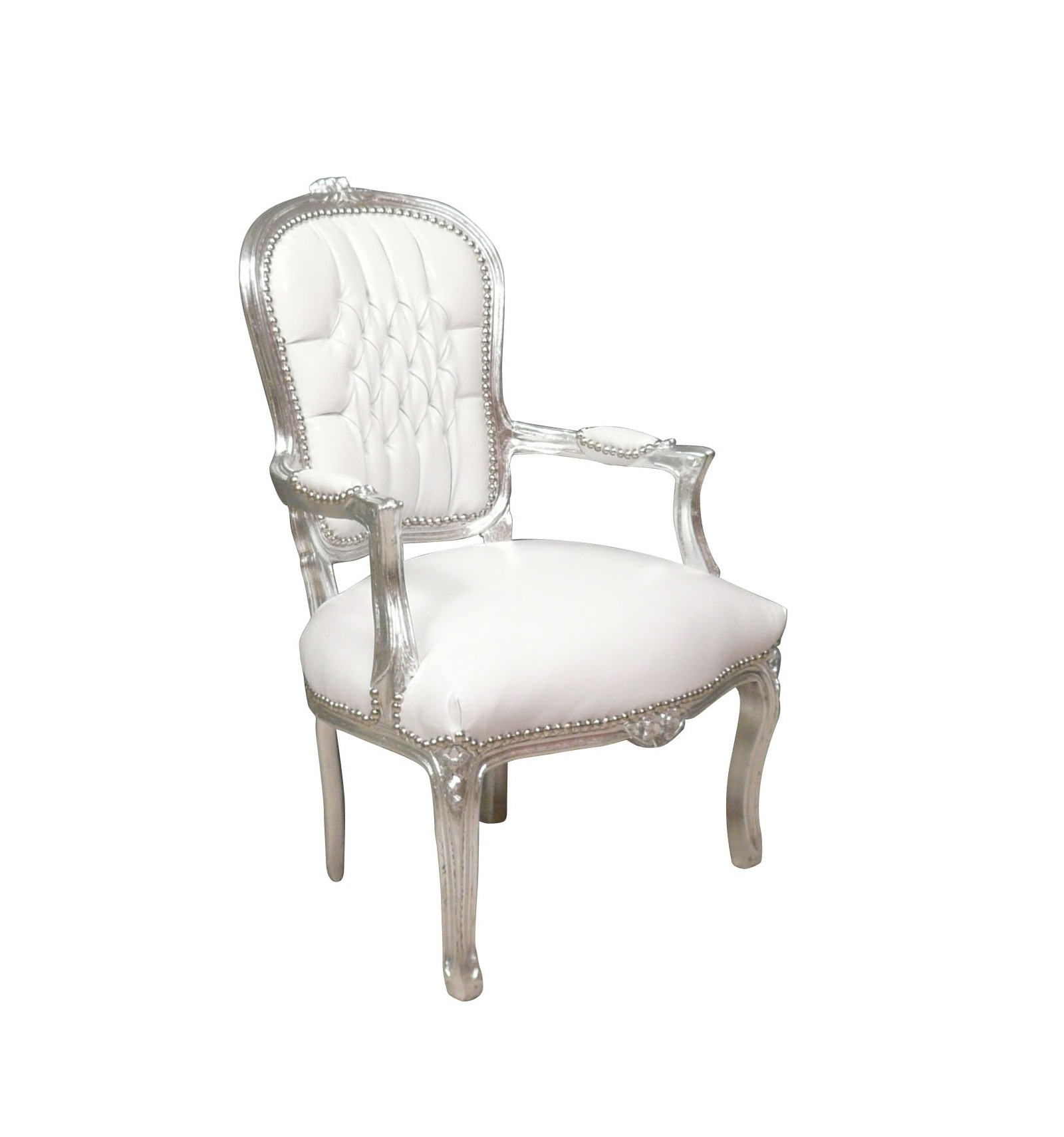 ... Baroque Armchair Louis XV White And Silver ...