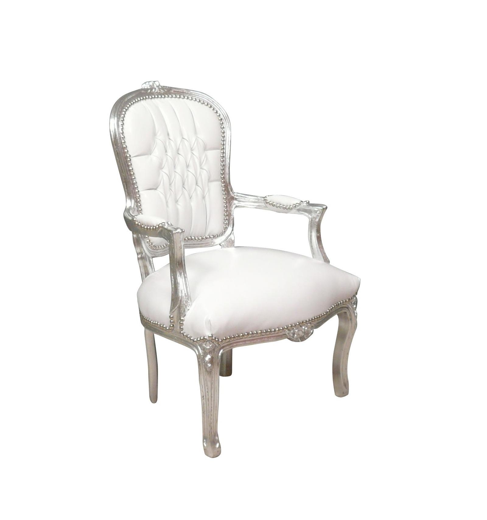 fauteuil baroque louis xv blanc et argent chaise. Black Bedroom Furniture Sets. Home Design Ideas
