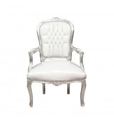 Baroque armchair Louis XV white and silver