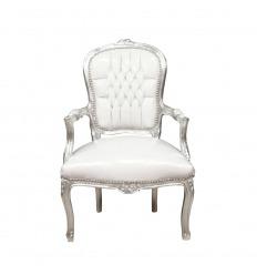 Sillón Luis XV barroco blanco y plata
