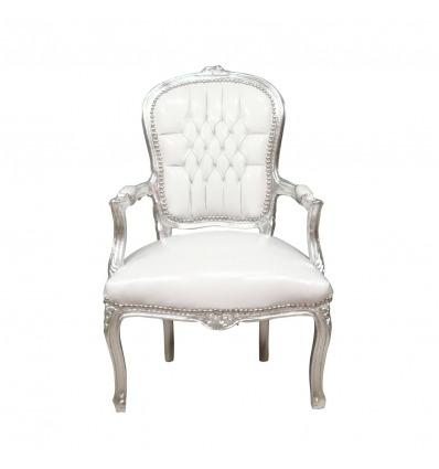 Sillón barroco Luis XV blanco y plateado - Sillones Luis XV -
