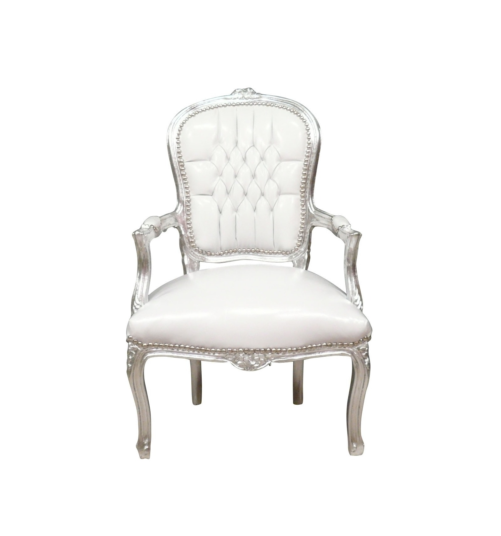 Armchair baroque louis xv white and silver louis xv for Chaise fauteuil