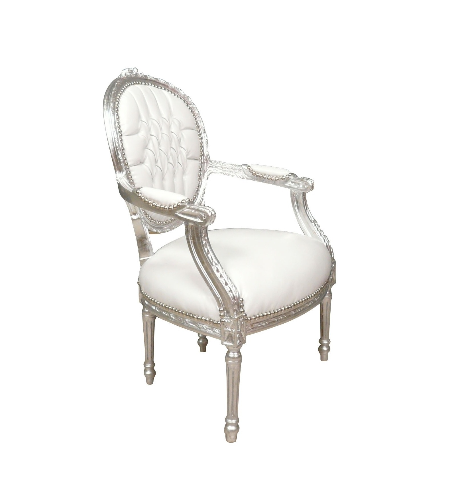 fauteuil baroque blanc style louis xvi chaise. Black Bedroom Furniture Sets. Home Design Ideas