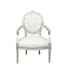 Louis XVI-style white baroque armchair