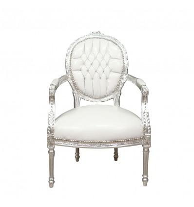 Fauteuil baroque blanc style Louis XVI