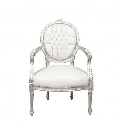 Poltrona barocco bianco stile Louis XVI