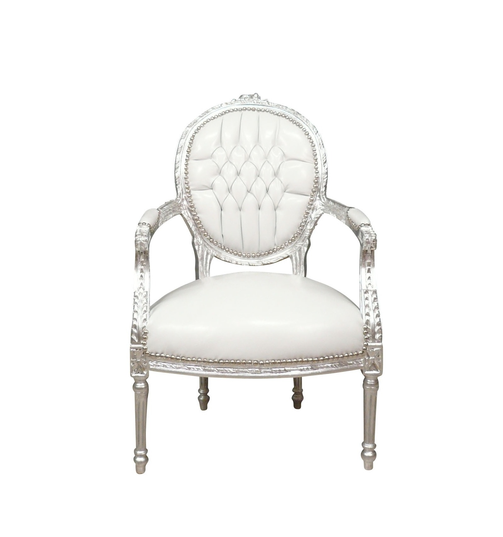 fauteuil baroque blanc style louis xvi fauteuils louis. Black Bedroom Furniture Sets. Home Design Ideas