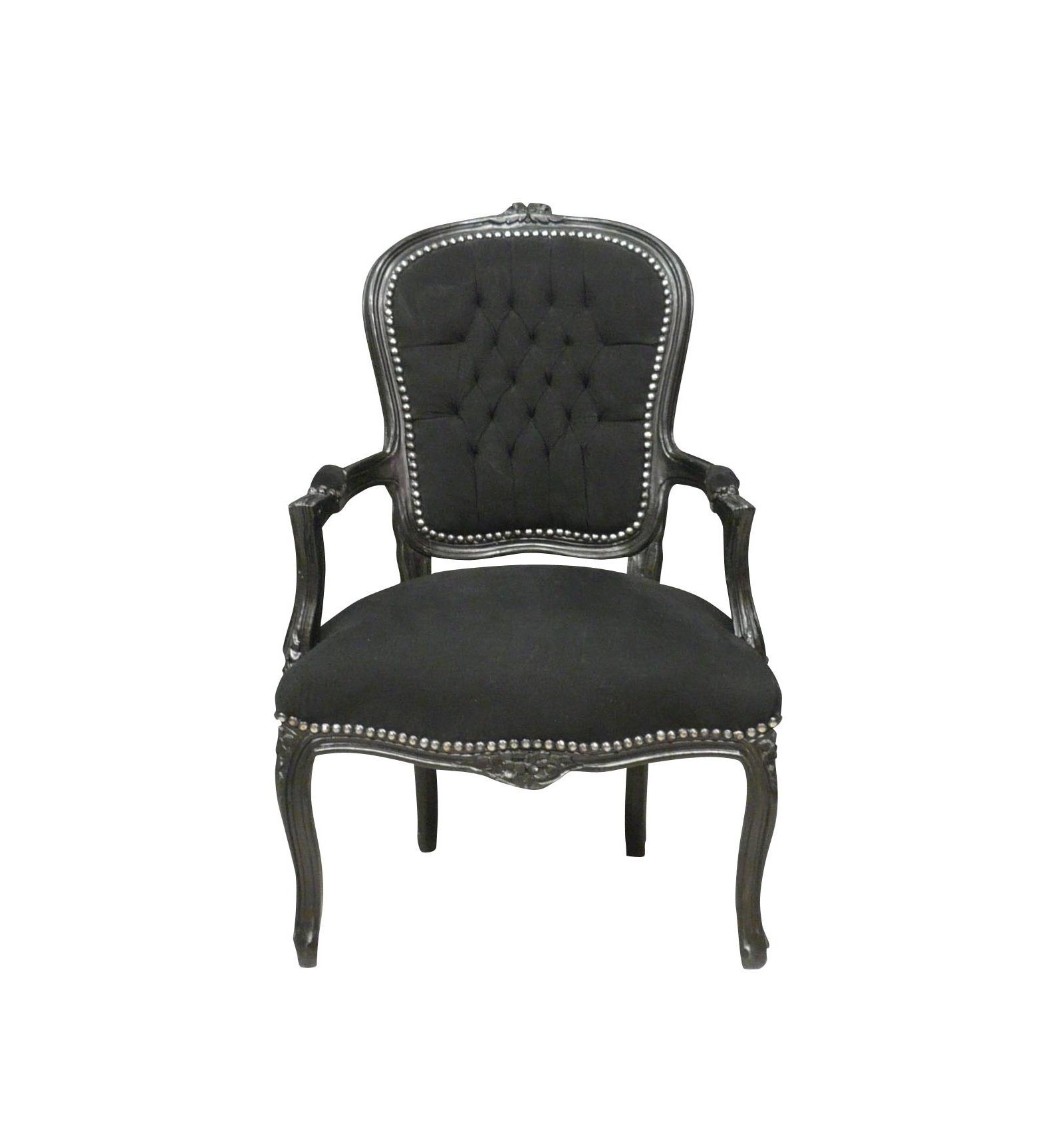Barocksessel Louis XV schwarz Samt - Louis XV Sitze