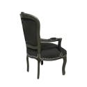 Fauteuil style Louis XV en velours noir