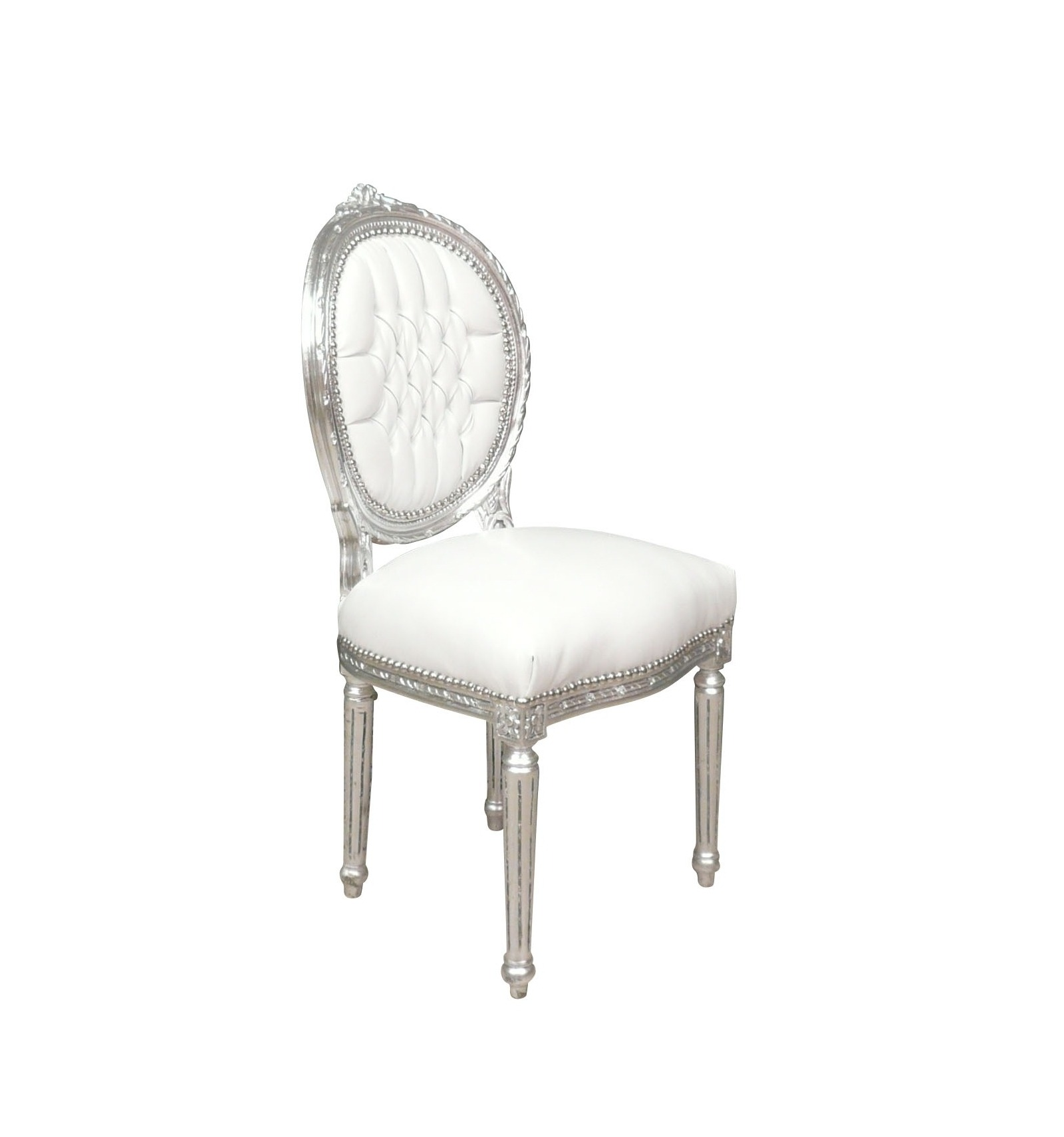 Chaise louis xvi blanche et argent pas ch re for Chaise blanche