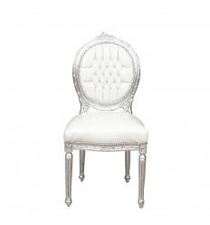 Silla Luis XVI blanca y plateada.