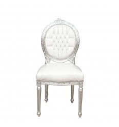 Stuhl Louis XVI weiß und silber