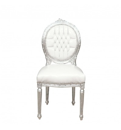 Louis XVI chair white and silver