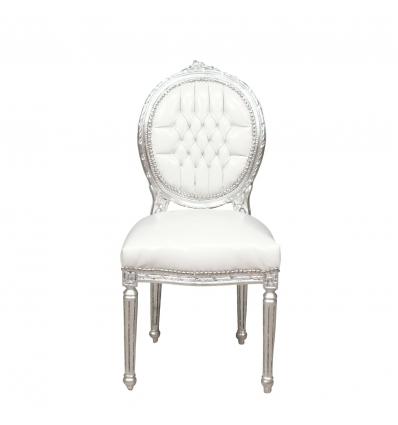Louis XVI weißer und silberner Stuhl