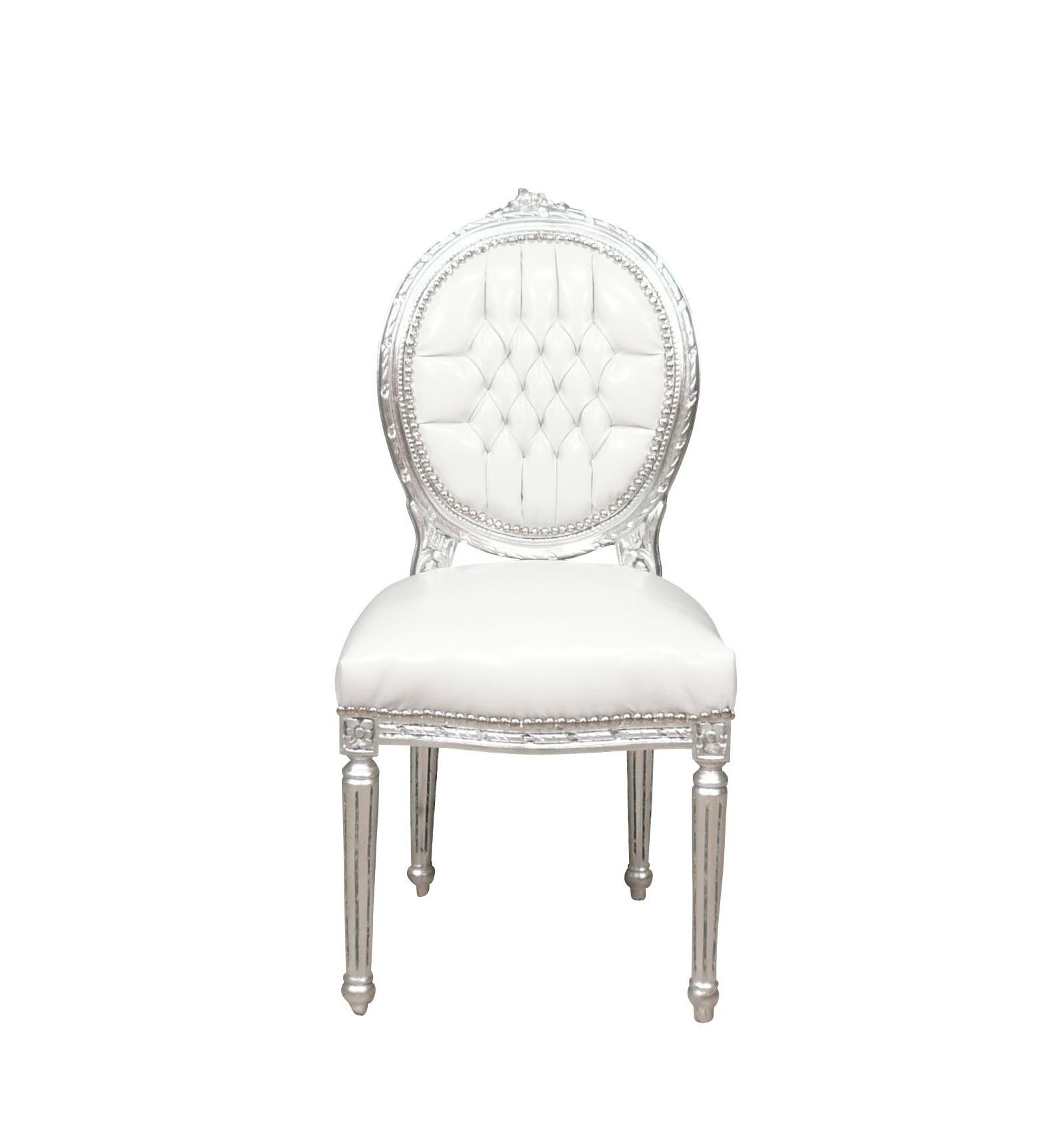 Silla louis xvi blanco y plata sillones barrocos - Sillas louis xvi ...