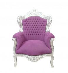 Fotel w stylu barokowym Fioletowy