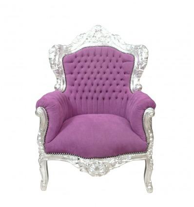 Sillón barroco morado - Muebles de estilo clásico. -