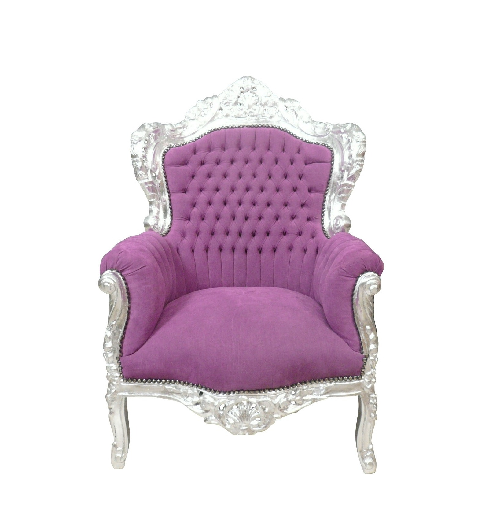 Poltrona barocca viola mobili in stile for Poltrone barocche