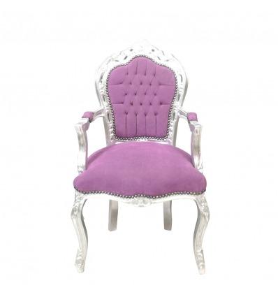 Fotel w stylu barokowym, klasyczny fioletowy -