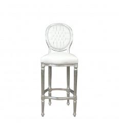 Silla de bar barroca blanca estilo Luis XVI