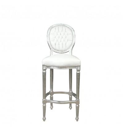 Baroque bar chair white Louis XVI style